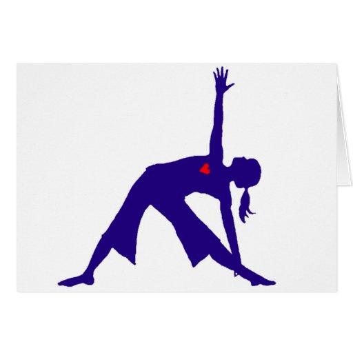 Silueta de la actitud del triángulo de la yoga con tarjetón