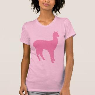 Silueta de la alpaca (en rosa) camiseta
