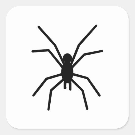 Silueta de la araña pegatina cuadrada