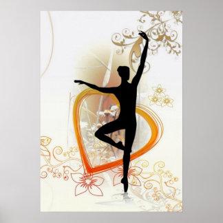 Silueta de la bailarina con diseño abstracto flora póster