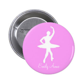 Silueta de la bailarina en el botón redondo rosado