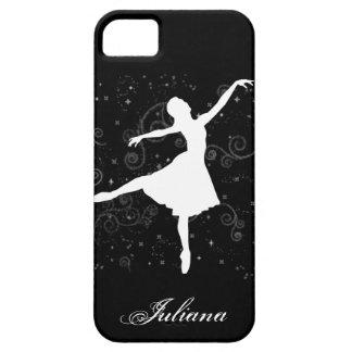 Silueta de la bailarina en la caja negra del iPhone 5 carcasa