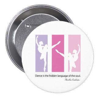 Silueta de la bailarina en rosa pin redondo de 3 pulgadas
