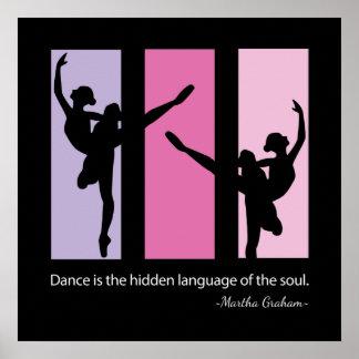 Silueta de la bailarina en rosa poster