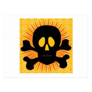 Silueta de la bandera pirata del cráneo tarjetas postales