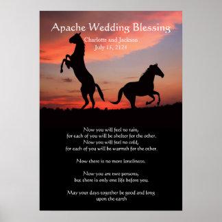 Silueta de la bendición del boda de Apache Impresiones