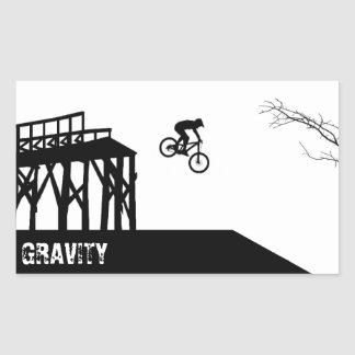 Silueta de la bici de montaña pegatina rectangular