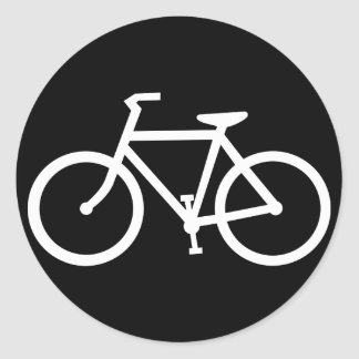 silueta de la bicicleta etiqueta redonda