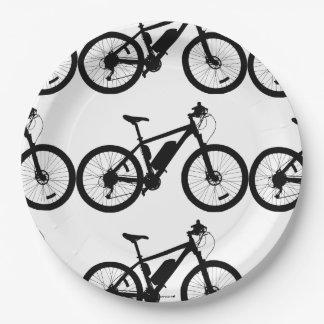 Silueta de la bicicleta platos de papel