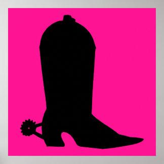 Silueta de la bota de vaquero poster