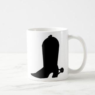 Silueta de la bota de vaquero taza básica blanca