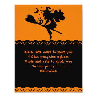 Silueta de la bruja y del gato negro invitación 10,8 x 13,9 cm