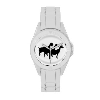 Silueta de la cabra de la lechería relojes de pulsera