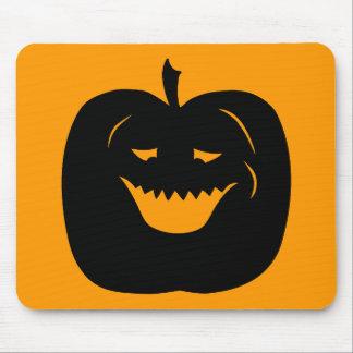Silueta de la calabaza de Halloween Negro Alfombrillas De Raton