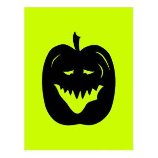 Silueta de la calabaza de Halloween. Negro Tarjetas Postales