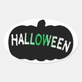 Silueta de la calabaza de Halloween Pegatina Ovalada