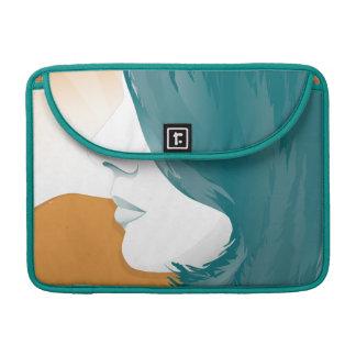 Silueta de la cara de la mujer fundas para macbooks