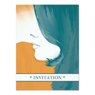 """Silueta de la cara de la mujer invitación 5.5"""" x 7.5"""""""