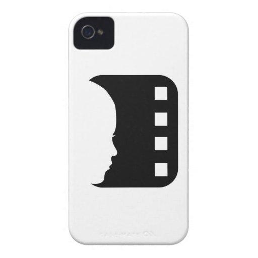 Silueta de la cara de una señora en un filmstrip iPhone 4 Case-Mate coberturas