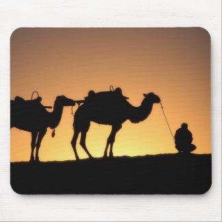Silueta de la caravana del camello en el desierto  alfombrilla de raton