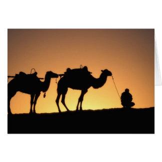 Silueta de la caravana del camello en el desierto  tarjeta de felicitación