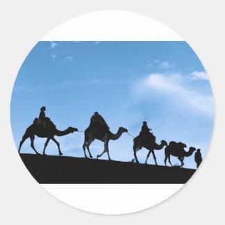 Silueta de la caravana del camello pegatina redonda