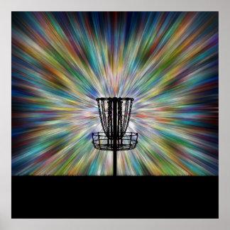 Silueta de la cesta del golf del disco poster
