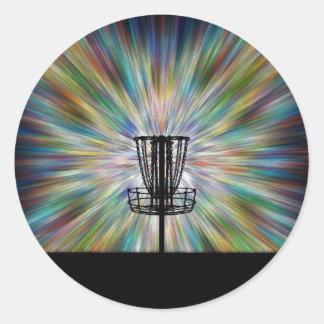 Silueta de la cesta del golf del disco pegatina redonda