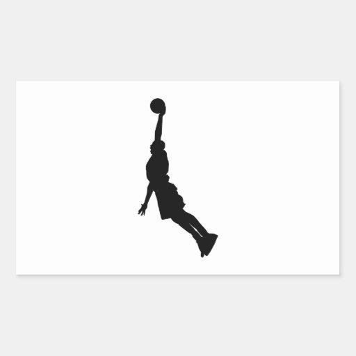 Silueta de la clavada del baloncesto pegatina rectangular