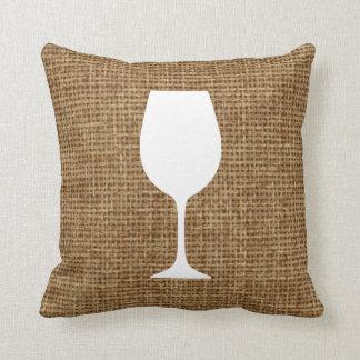 Silueta de la copa de vino y falsa arpillera cojín