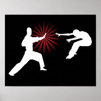 Silueta de la energía de los artes marciales posters