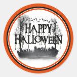 Silueta de la escena del cementerio de Halloween Pegatinas Redondas