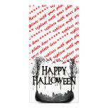 Silueta de la escena del cementerio de Halloween Tarjeta Fotográfica Personalizada
