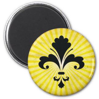 Silueta de la flor de lis; amarillo imanes