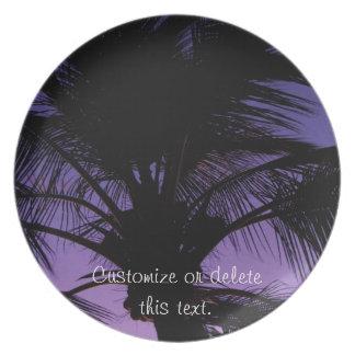 Silueta de la fronda de la palma; Personalizable Plato De Cena