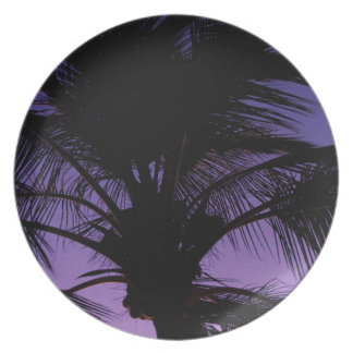 Silueta de la fronda de la palma platos