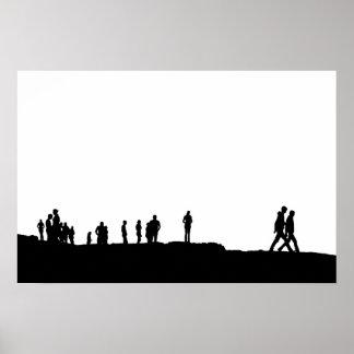 silueta de la gente en pico póster