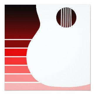 """silueta de la guitarra acústica: el rojo se invitación 5.25"""" x 5.25"""""""