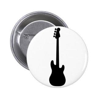Silueta de la guitarra baja, instrumento musical pin redondo de 2 pulgadas