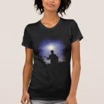 Silueta de la guitarra de la Luna Llena Camiseta