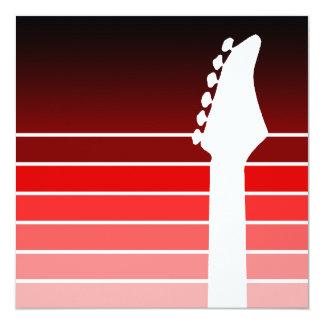 """silueta de la guitarra eléctrica: el rojo se invitación 5.25"""" x 5.25"""""""