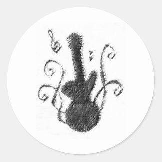 Silueta de la guitarra pegatina redonda