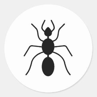 Silueta de la hormiga pegatinas redondas