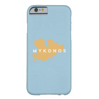 Silueta de la isla de Mykonos Grecia Funda Para iPhone 6 Barely There