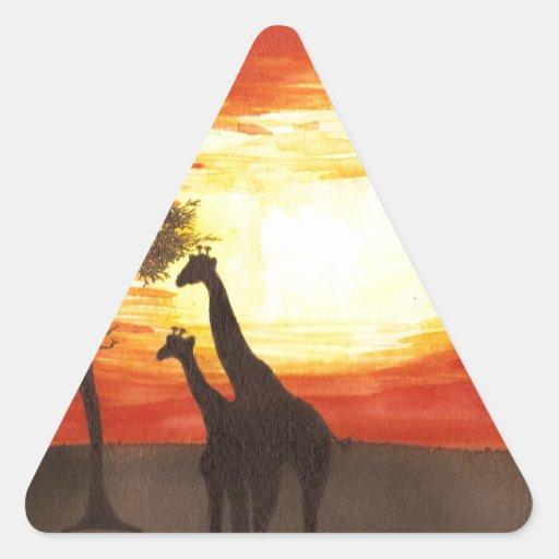Silueta de la jirafa pegatina triangular
