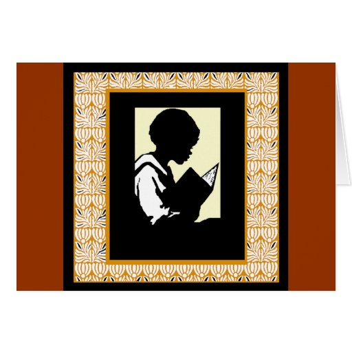 Silueta de la lectura del muchacho tarjetón