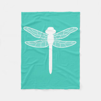 Silueta de la libélula en la turquesa manta de forro polar