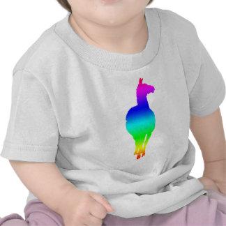 Silueta de la llama (arco iris, revestimiento camiseta