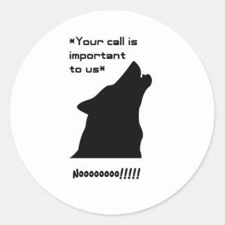 Silueta de la llamada de lobo pegatina redonda