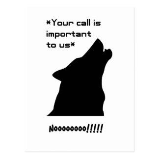 Silueta de la llamada de lobo tarjetas postales